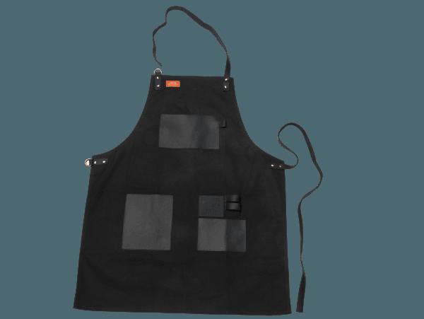 סינר לעל האש עשוי קנבס בגוון שחור בשילוב עור - טרייגר גריל מעשנות בשר