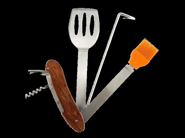 אולר כלים איכותי לגריל בשר ומעשנת בשר הכולל: מרית