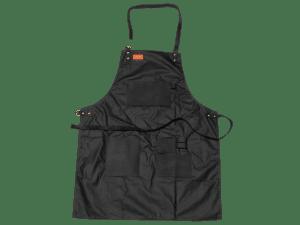 סינר קנבס שחור מצופה שעווה בשילוב עור – טרייגר גריל, מעשנת בשר, טאבון, שבבי עץ לעישון, כלים למנגל ואביזרים למנגל