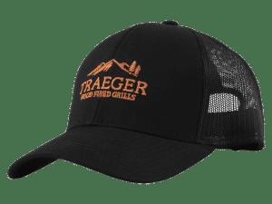 כובע שחור עם לוגו של טרייגר – גריל, מעשנת בשר, טאבון, שבבי עץ לעישון, כלים למנגל ואביזרים למנגל